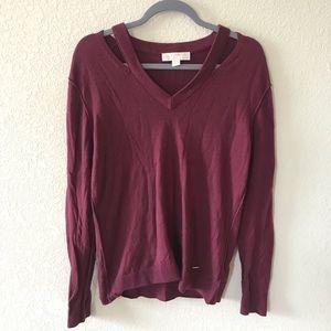 Michael by Micheal Kors Burgundy Cutout Sweater